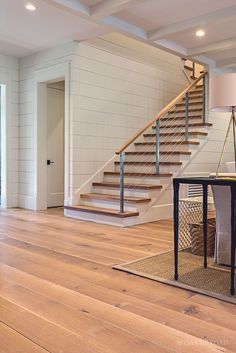 Wide Plank White Oak Hardwood Floor By Oak And Broad With Custom Stain | Rustic Modern Living Room With Wood Stair Treads