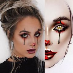 halloween makeup Posts - See - halloween Maquillage Halloween Clown, Halloween Makeup Clown, Halloween Eyes, Halloween Makeup Looks, Costume Halloween, Easy Clown Makeup, Girl Clown Makeup, Jester Makeup, Mime Costume