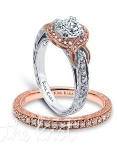 Hand-engraved engagement set from the Kirk Kara Pirouette collection. Rose gold and white gold engagement ring crafted with carats of diamonds (c. Engagement Ring Photos, Engagement Sets, Rose Gold Engagement Ring, Wedding Ring Bands, Ring Verlobung, Gold Ring, Or Rose, Beautiful Rings, Fashion Rings