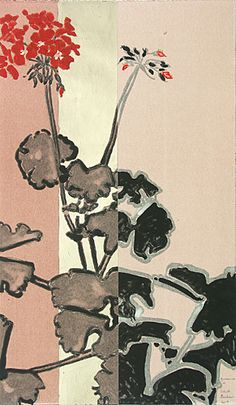 Geranium VI - Colour monotype with gold leaf by Robert Kushner