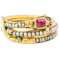 Preowned Victorian Era Mourning Serpant Gold Ring Ft. Ruby And Seed... ($6,000) ❤ liked on Polyvore featuring jewelry, rings, multiple, yellow gold rings, victorian pearl ring, gold ruby ring, gold snake ring and ruby cocktail ring