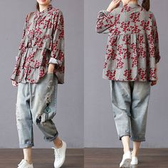 Gracila Patchwork Floral Embroidered Irregular Vintage Blouses Cheap - NewChic M. Simple Pakistani Dresses, Pakistani Fashion Casual, Indian Fashion Dresses, Pakistani Dress Design, Stylish Dresses For Girls, Stylish Dress Designs, Designs For Dresses, Casual Dresses, Chic Outfits