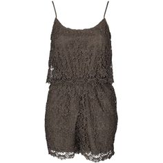 New Look Crochet Lace Playsuit (£25) ❤ liked on Polyvore featuring jumpsuits, rompers, jumpsuit, khaki, womens-fashion, tall jumpsuits, jumpsuits & rompers, romper jumpsuit, ruffle romper and playsuit jumpsuit