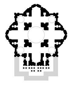 MIGUEL ÁNGEL Buonarotti: Proyecto para la Basílica de San Pedro del Vaticano.  Retoma la idea de Bramante, con planta centralizada y gran cúpula con doble casquete sobre tambor.