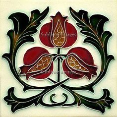 Gloss Ceramic Tile - Vintage Art Nouveau Reproduction Pomegranate Tile - Various Sizes.