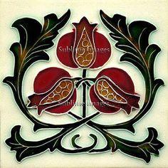 Gloss Ceramic Tile - Vintage Art Nouveau Reproduction Pomegranate Tile - Various Sizes.