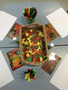 Use Bob Ross painting for inspiration Autumn art provocation at Robina Scott Kindergarten ≈≈ Fall Preschool, Preschool Activities, Reggio Emilia Preschool, Autumn Art, Autumn Theme, Tree Study, Material Didático, Creative Curriculum, Ecole Art
