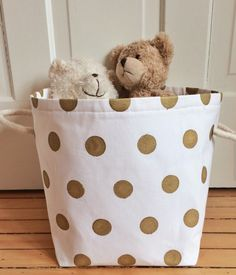 gold dotted storage bin