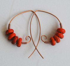Orange Dyed Magnesite Bead Copper Wire Wrap Spiral Hoop Beautiful Earrings   eBay
