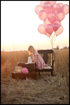 field, happy birthdays, country girls, pictur idea, birthday photos, balloon, pink birthday, birthday ideas, birthday cakes