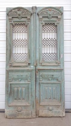 Pair of Wood Carved Door with Iron Inserts Dimensions are 118 High x 63 Wide Antique Doors, Old Doors, Windows And Doors, Wood Picture Frames, Picture On Wood, Vintage Shutters, Shutter Doors, Interior Stairs, Architectural Antiques