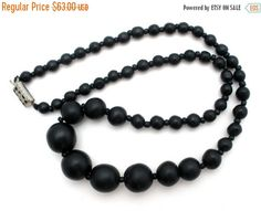 Sale Matte Black Onyx Bead Necklace Art by TheJewelryLadysStore