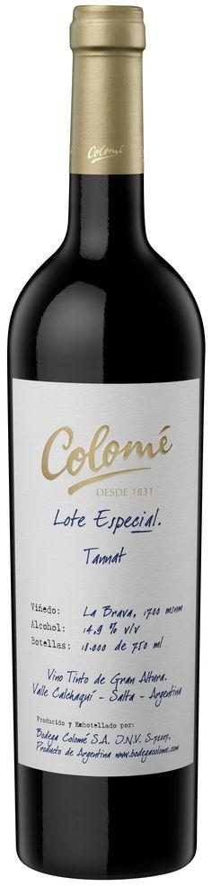 """""""Lote Especial"""" Tannat 2011 - Bodega Colomé, Molinos, Salta- Terroir: Valle de Cafayate---------- Crianza: 12 meses en barricas de roble"""