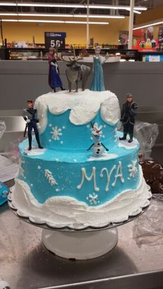 Whipped Icing Two Tier Disney Frozen Cake