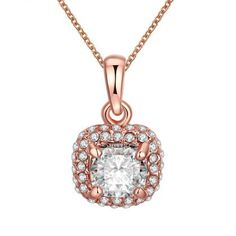 LEKANI+Rose+Gold+Plating+Prong+Setting+Big+Zircon+Necklace