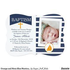 Shop Orange and Navy Blue Nautical Baptism Invitation created by Sugar_Puff_Kids. Baptism Invitations, Custom Invitations, Nautical Baptism, Navy Blue, Blue And White, White Envelopes, Christening, Rsvp, Backdrops