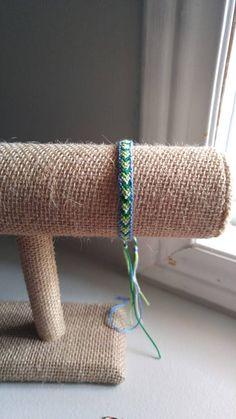 Blue border with ombre green chevron pattern friendship bracelet by JolieTreasure on Etsy