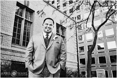 B&W Portrait of a Groom standing outside of the University Club of Denver in Colorado. - April O'Hare Photography http://www.apriloharephotography.com #DenverWedding #UniversityClub #UniversityClubofDenver #DenverUniversityClub #DenverWedding #DowntownDenverWedding #ColoradoWedding #DenverWeddingPhotographer  #CityWedding #WeddingFormals #Groom #FormalWedding
