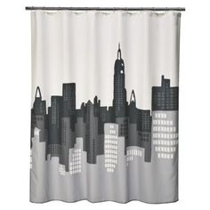 Cute, cheap shower curtain from Target. Gray + Yellow color scheme for the bathroom, maybe?