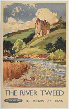 The river Tweed - Neidpath Castle, Peebleshire - British Railways - (J. Vintage Advertising Posters, Vintage Travel Posters, Vintage Postcards, Vintage Advertisements, Vintage Labels, Posters Uk, Railway Posters, Illustrations And Posters, British Travel
