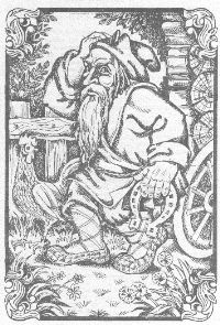 Dvorovoi (also Dworowy, Dvorovoj) – in Slavic folklore spirit of the courtyard (stables, barns, cowsheds, bee-gardens). He looks like a short and old man with long beard. His long hair can change its colour. Dvorovoi sometimes appears as a snake with rooster's head. He lives in the barn or pigsty and likes when people give him some bread and sheep's wool. He can't stand animals with white fur and he brings diseases to them.