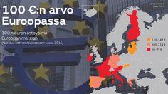 Kartassa kuvattuna 100 euron ostovoima kyseisessä maassa. Hintavertailu toteutettiin vertailemalla samoista tuotteista koostuvaa ruokakoria eri maissa. Copyright: MTV Uutiset.