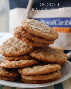 Coconut Ranger Cookies-Just like on Royal Caribbean Cruises-a chewy cookie filled with sweet flaked coconut and toffee bits, watch out, they are addictive!