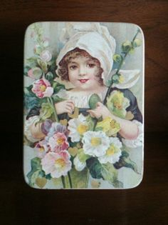 Vintage Tin Box with Maiden & Flowers