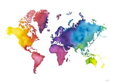 20x30 Large Watercolor Map Print World Map by AudreyDeFord on Etsy ...