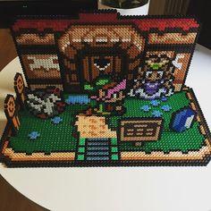3D Legend of Zelda scene hama beads by drakebcn