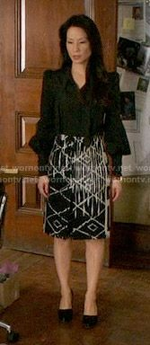 Joan's black and white printed skirt on Elementary.  Outfit Details: https://wornontv.net/56115/ #Elementary