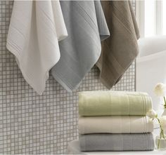 Textured Stripe Bath Towels in celery or taupe