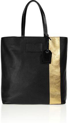 697329b7d3 Reed Krakoff Black Gym Bag Metallicstriped Leather Tote