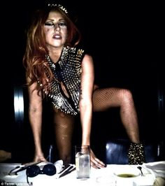 Gaga loves her ripped fishnet tights