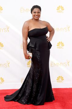 The Emmy Red Carpet's Most Amazing Plus-Size Looks #refinery29  http://www.refinery29.com/2014/08/73460/best-plus-size-emmy-looks#slide5  Adrienne C. Moore The OINTB star's flared bustier and gently fluted, sparkly skirt make a fine case for sleek separates in lieu of a poufy, red carpet dress. We think the ever-unpretentious Black Cindy would approve.