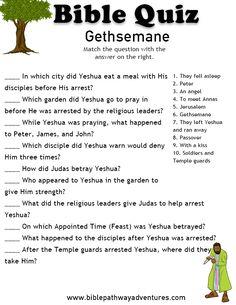 Printable bible quiz:  Gethsemane | Free Download