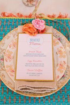 bridal shower breakfast menu #bridalshower #weddingreception #weddingchicks http://www.weddingchicks.com/2014/02/18/pink-and-blue-bridal-ask-party
