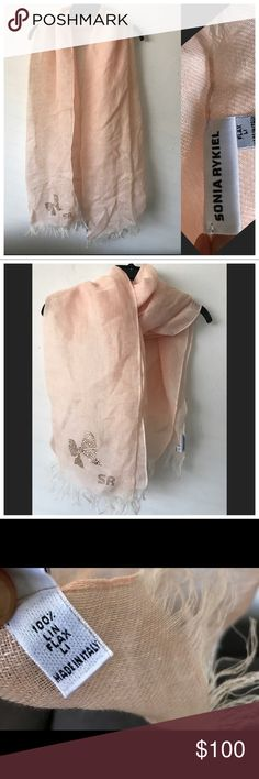 """Sonia Rykiel flax linen scarf made in Italy mint! Sonia Rykiel flax linen Rhinestone detail scarf -Italy-Pristine!  Gorgeous semi sheer 100% flax linen scarf by Sonia Rykiel. Beautiful pale pink/peach color with fringe and Rhinestone bow embellishment with SR logo. Made in Italy. Flawless!   72"""" long 26"""" wide Sonia Rykiel Accessories Scarves & Wraps"""