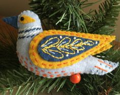 A Partridge in a Pear Tree Felt Ornament 12 Days by JeanBeanGifts