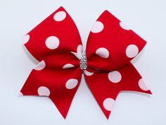 Red Dot Cheer Bow by MySIXCHICKS on Etsy https://www.etsy.com/listing/242784680/red-dot-cheer-bow