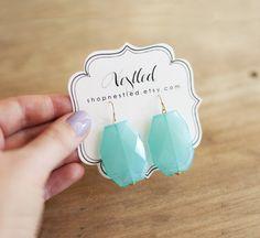 Turquoise Aqua Blue Statement Drop Earrings. $15.00, via Etsy.
