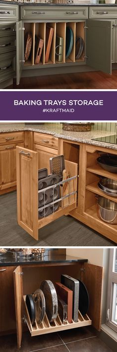 Top One Narrow Drawer For Vertically Storing Baking Sheets In Tins Kraftmaid Cabinetry