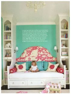 candy pink & green little girls room... Love the built in bed & shelves