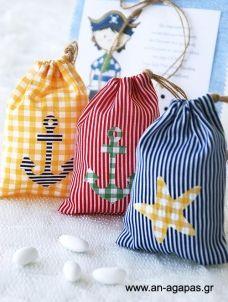 Μπομπονιέρα βάπτισης πουγκί θαλασσινό Goodie Bags, Goodies, Artisan, Quilts, Christmas Ornaments, Sewing, Holiday Decor, Party, Crafts