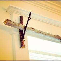 Tree branch + Twig bracket = Curtain rod set. :) So easy. #DIY