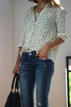 Cute! polka dots, jeans, half, little shirt tuck. casual fall outfit with blazer