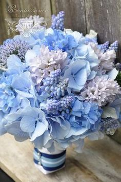 Globe Thistle, Muscari, Hyacinth, Powder Hydrangea, and Delphinium Pastel Blue Wedding Bouquet Hydrangea Bouquet Wedding, Blue Wedding Flowers, Love Flowers, Wedding Bouquets, Beautiful Flowers, Wedding Blue, Delphinium Bouquet, White Tulip Bouquet, Hyacinth Bouquet