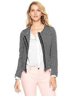 Raw-edge tweed jacket Can't wait to wear this to school!!
