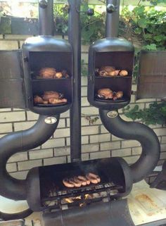Dual smoker and barbecue. Rocket Stoves, Smokehouse, Backyard Bbq, Backyard Ideas, Landscaping Ideas, Garden Ideas, Welding Projects, Diy Projects, Welding Ideas