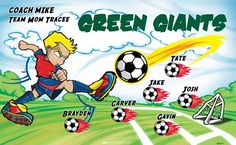 Green Giants B53371  digitally printed vinyl soccer sports team banner. Made in the USA and shipped fast by BannersUSA.  You can easily create a similar banner using our Live Designer where you can manipulate ALL of the elements of ANY template.  You can change colors, add/change/remove text and graphics and resize the elements of your design, making it completely your own creation.
